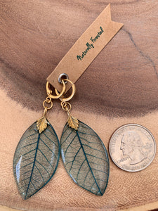 Turquoise Skeleton Leaf Gold Earrings