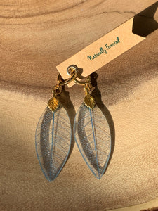 Blue Skeleton Leaf Gold Earrings