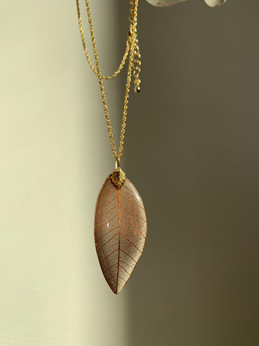 Brown Skeleton Leaf Gold Necklace