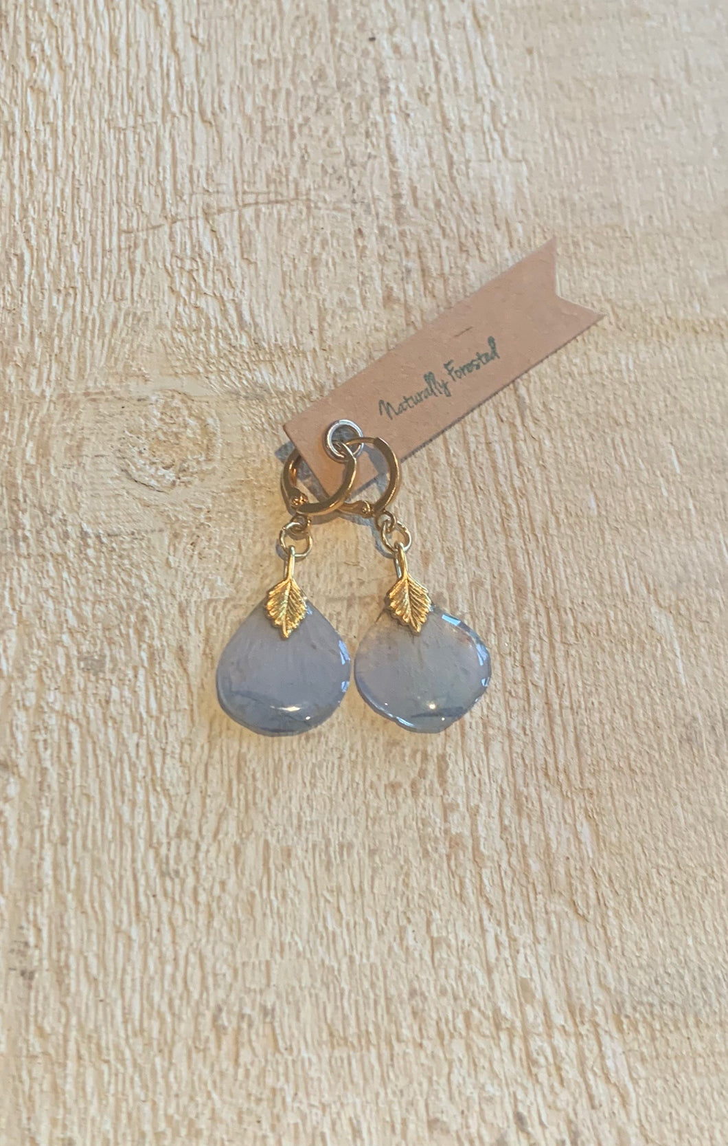 Blue Delphinium Earrings Gold