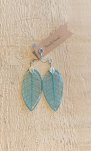 Turquoise Skeleton Leaf Sterling Silver Earrings