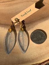 Load image into Gallery viewer, Blue Skeleton Leaf Gold Earrings