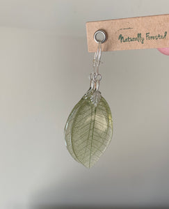 Green Skeleton Leaf Earrings Sterling Silver