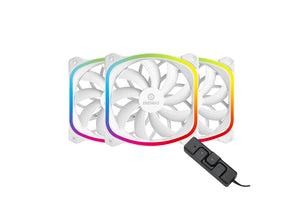 SquA RGB aRGB 120MM PWM Fan - White (3-Pack)