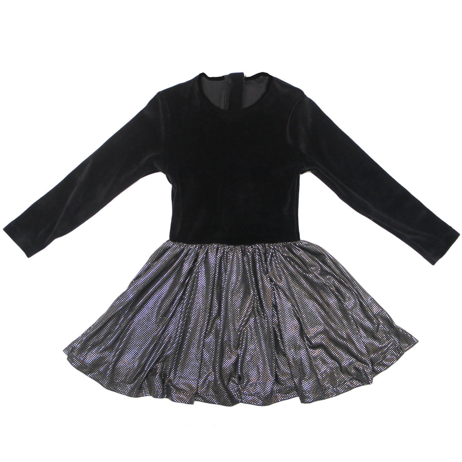 NO BIGGIE KIDS BLACK VELVET DRESS WITH METALLIC