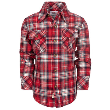 APPAMAN TRUE RED PLAID FLANNEL SHIRT