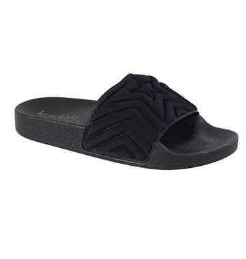 YOU'RE A STAR GIRL SLIDE SANDALS  |  BLACK