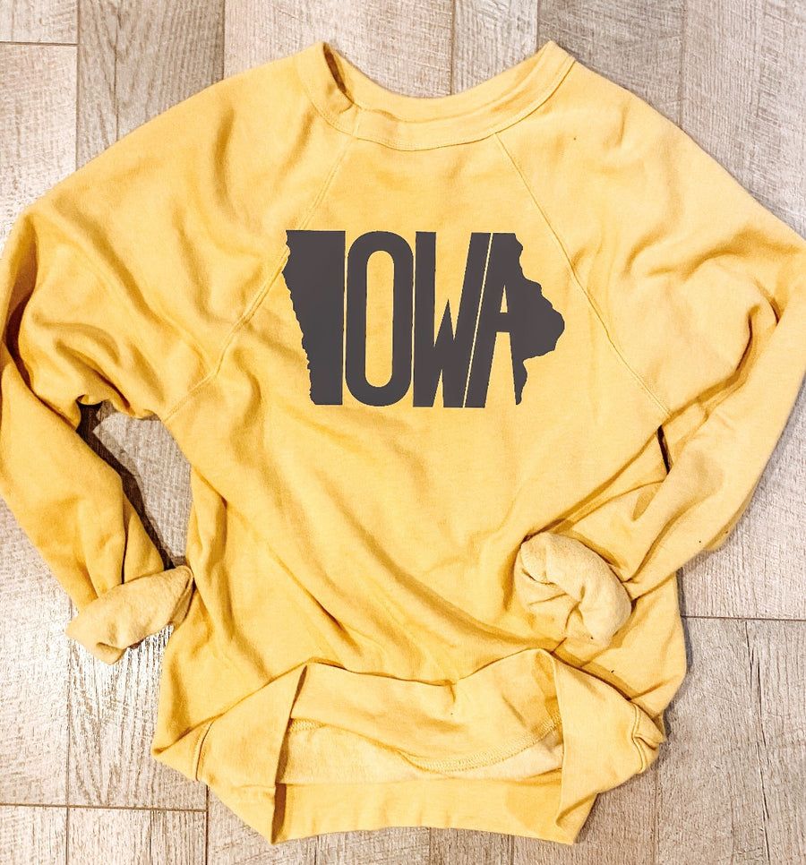 THE LEONARD CO ADULT IOWA SWEATSHIRT | GOLD W/ BLACK LETTERING