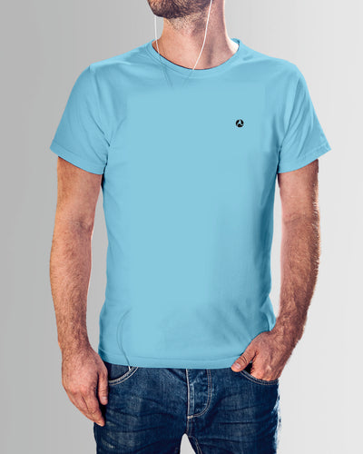 Light Blue Round Neck Plain T Shirt