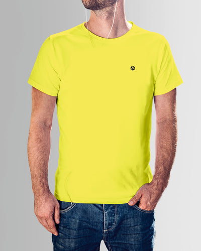 Yellow Round Neck Plain T Shirt
