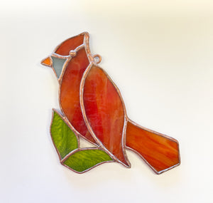 Red Bird/Cardinal with Leaves