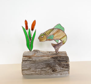 Fish with Cattails on Driftwood