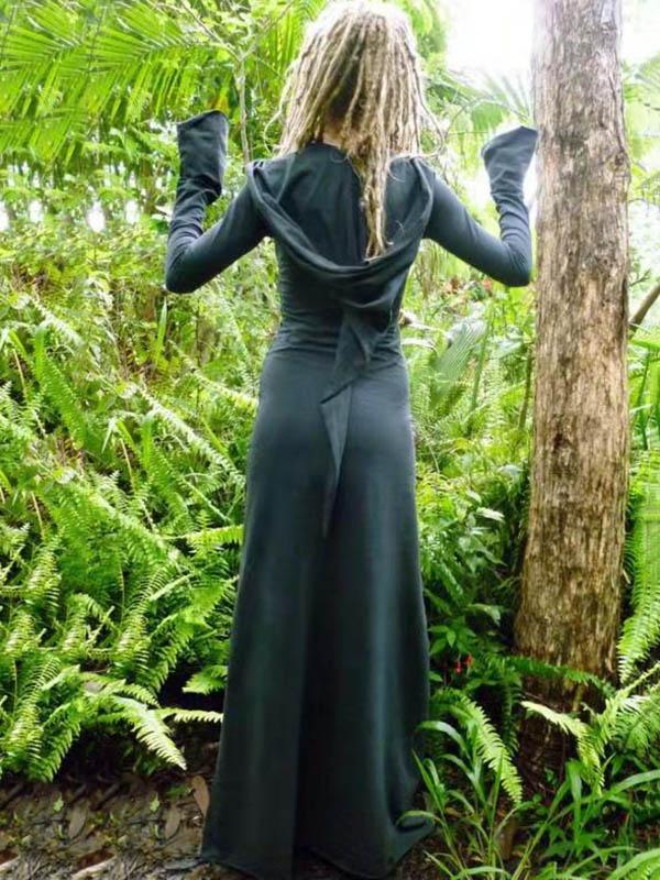 41e64321a8b Forest Hooded Flared Sleeves Maxi Dress – moditown