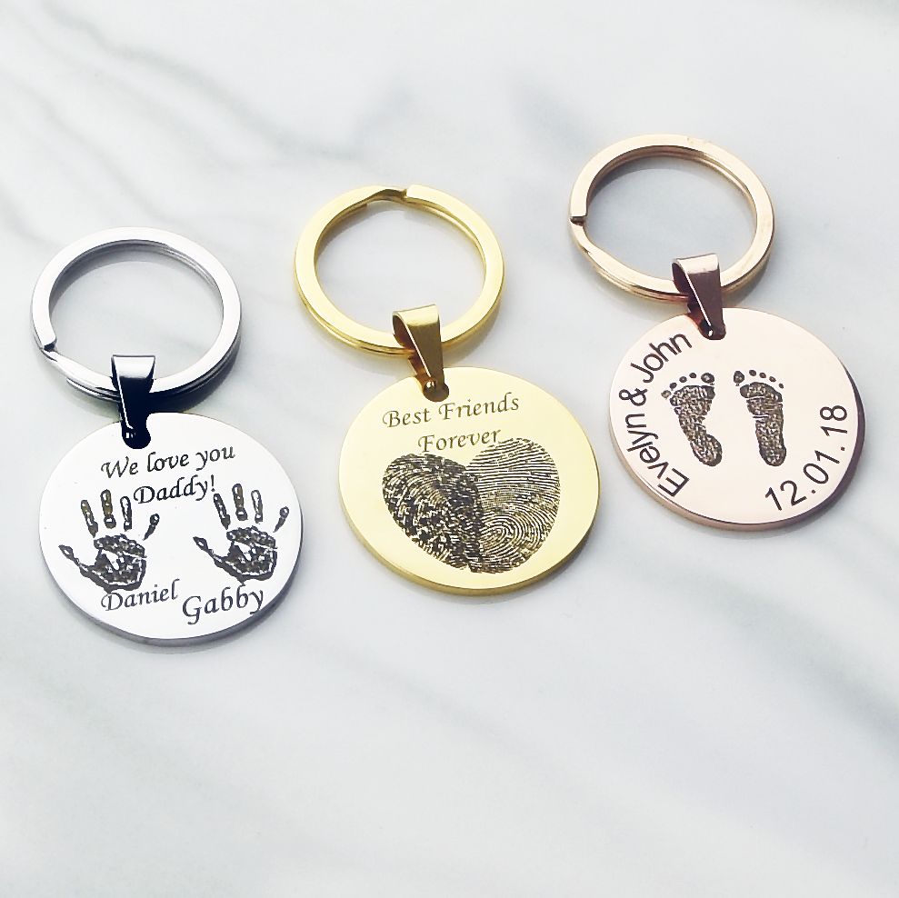 Actual finger print footprint hand print key chain, best friend gift