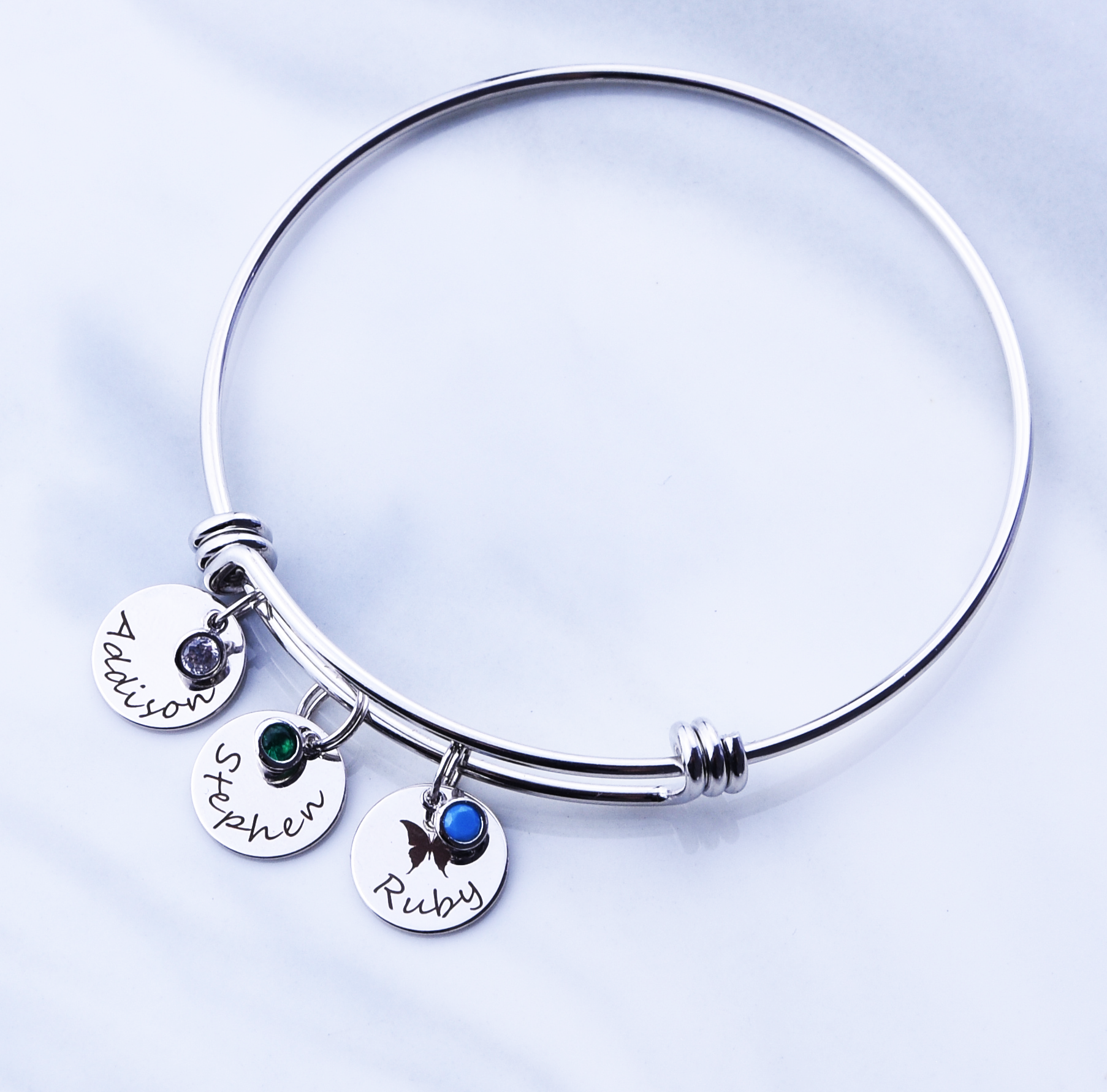 Silver color personalized bracelet with birthstone and initials gift for her