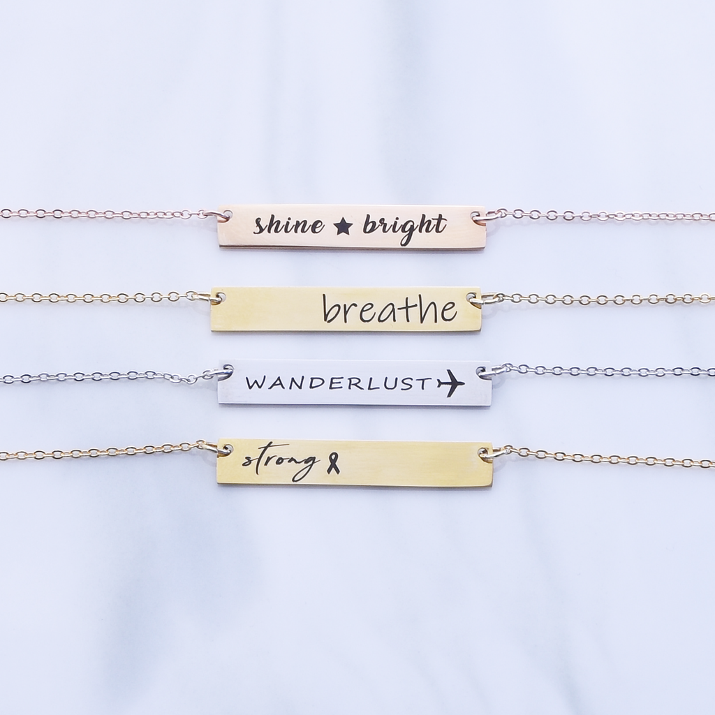Inspirational Necklace-Silver, rose gold or 16k gold plated Bar Necklace, Personalized Word Necklace