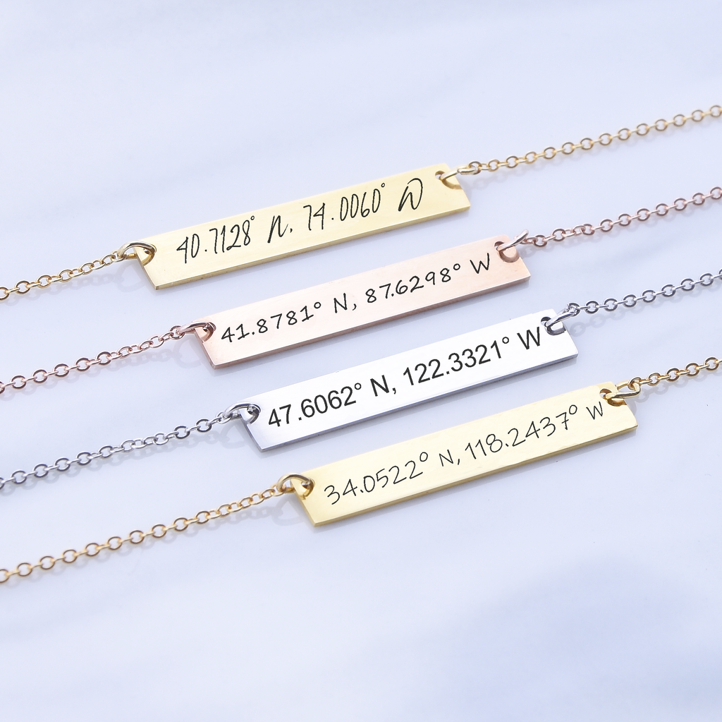 Custom coordinates necklace, GPS location necklace, Latitude Longitude Necklace Bar Necklace