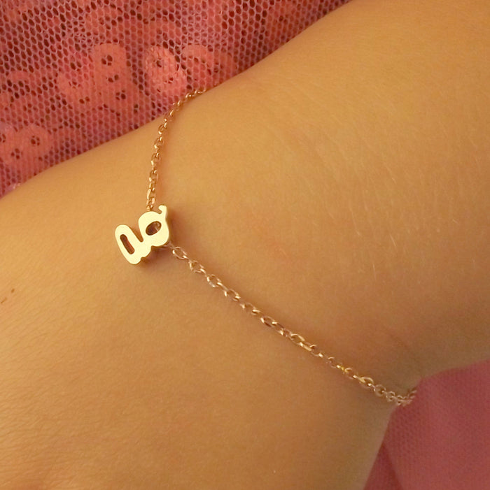 Silver, rose gold or gold children's initial bracelet,flower girl gift