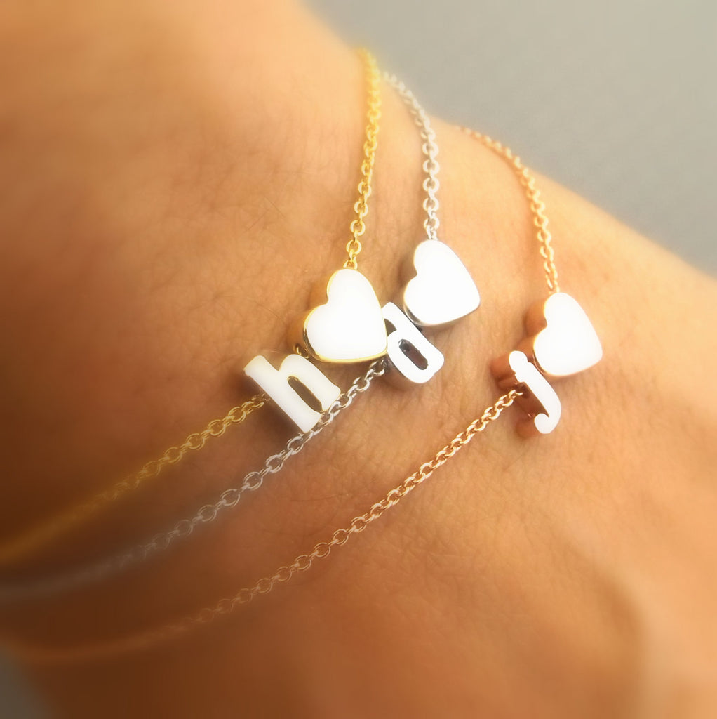 Lowercase initial and heart bracelet, silver rose gold gold plated initial and heart bracelet, heart bracelet