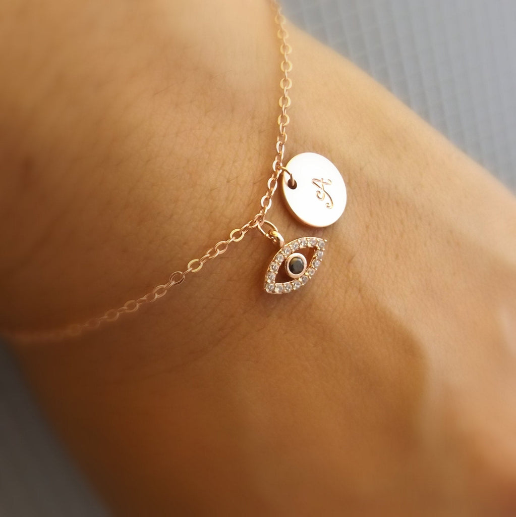 Rose gold evil eye bracelet-Initial and evil eye bracelet, rose gold gold plated evil eye jewelry, initial bracelet