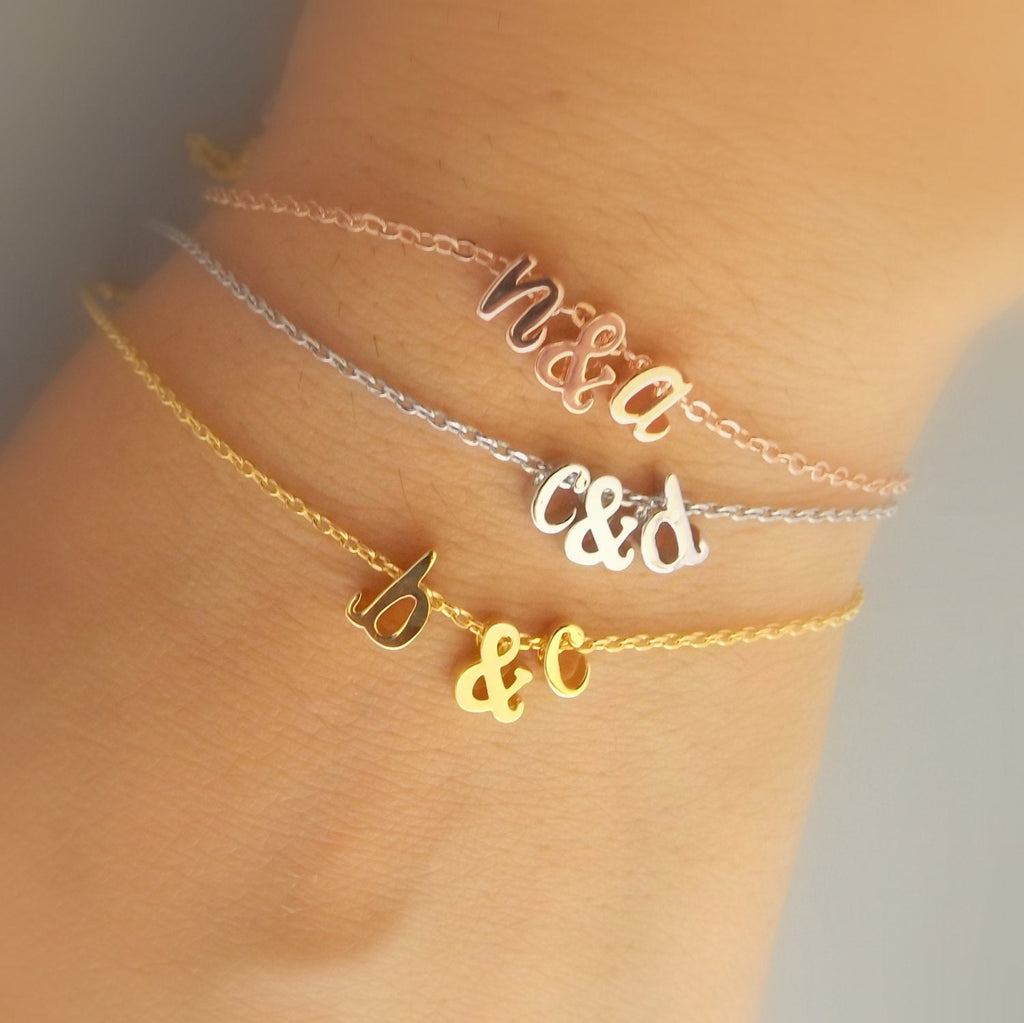 Silver rose gold or gold plated double initial bracelet , ampersand and initial bracelet, bridesmaid gift