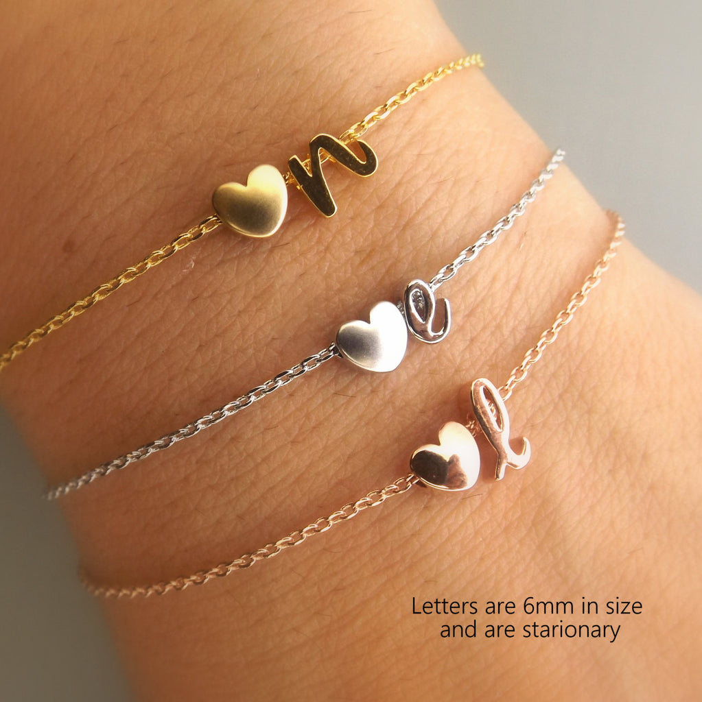 Bridesmaid Gift Initial and Heart Bracelet Personalized Bridesmaid Jewelry Silver Rose Gold Gold  Wedding Jewelry Bridesmaid Bracelet
