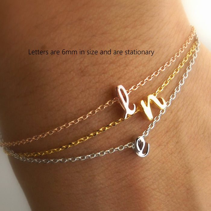 Dainty silver gold rose gold lowercase cursive script initial bracelet,monogram bracelet, personalized bridesmaid gift