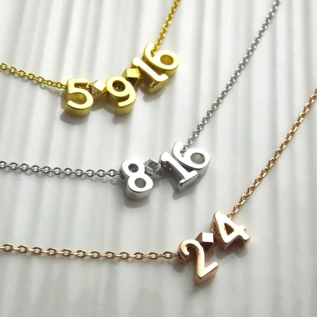 Date Necklace-Silver Rose Gold or 16k Gold Plated-Custom Wedding Date Necklace-Wedding Anniversary Gift-Personalized Date Necklace-Wife Gift