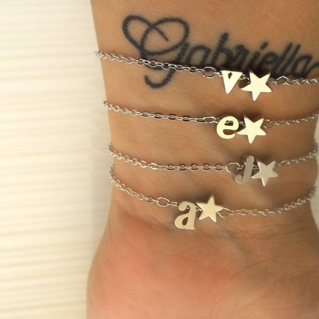 Initial and Star Celestial Bracelet-Silver Rose Gold 16k Gold Plated-Bridesmaid Gift-Personalized Bracelets-Christmas Gifts For Her Jewelry