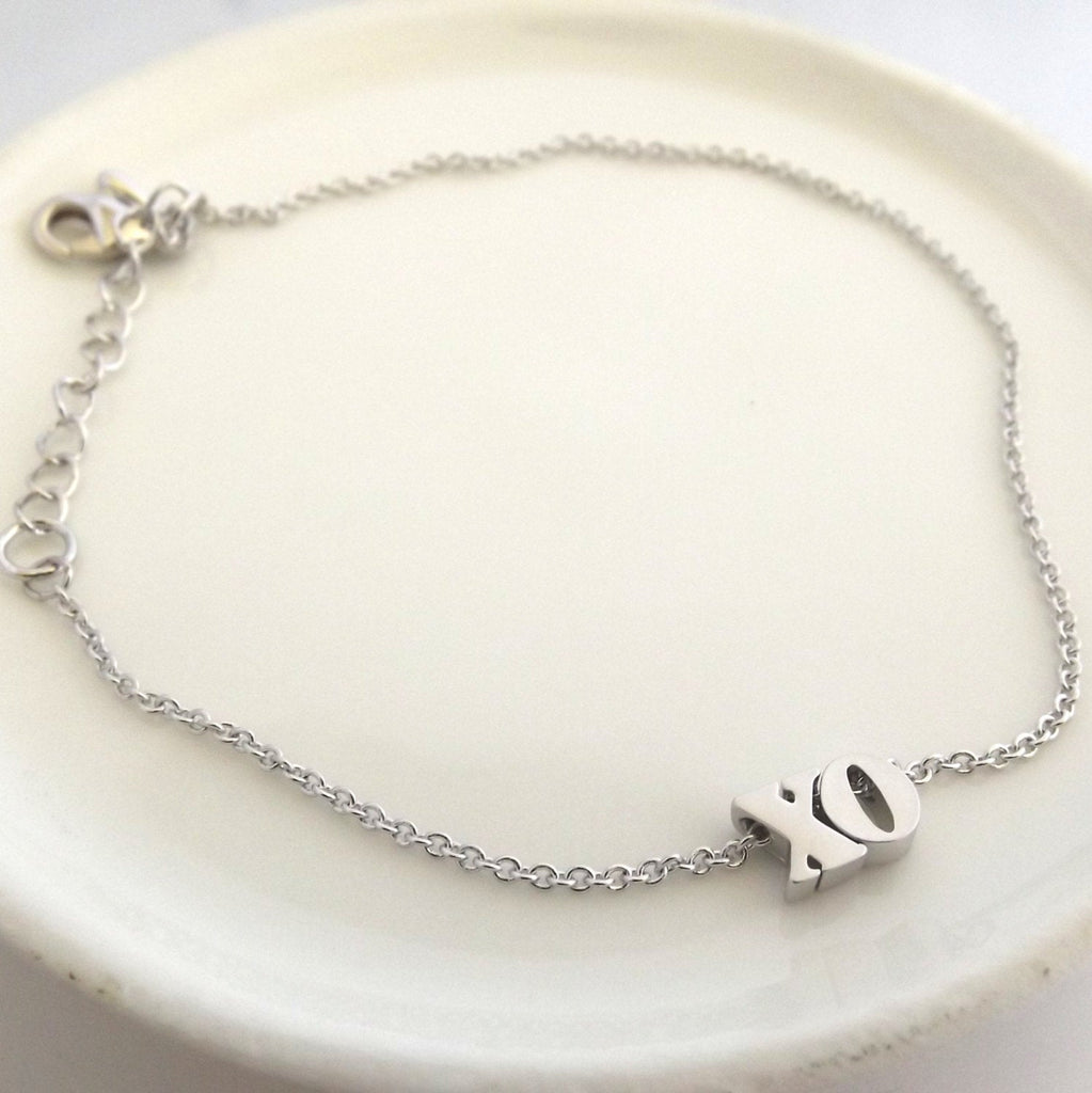 Xo bracelet- silver rose gold gold plated xo bracelet, hugs and kisses bracelet, bridesmaid gift