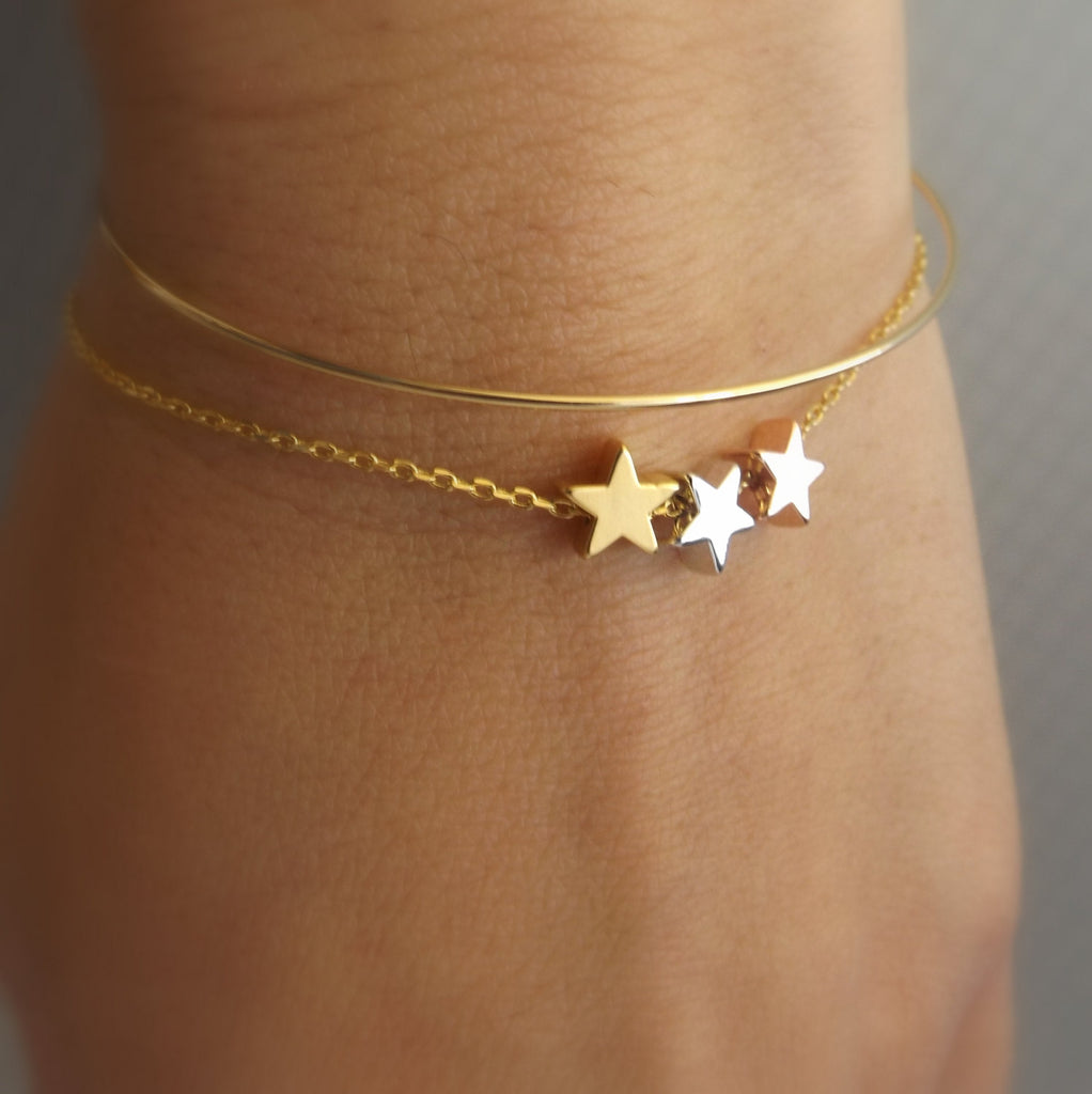 Tiny Star Bracelet-Wedding Jewelry,Bridesmaid Gift-Silver Rose Gold Gold Star Bracelet,Girlfriend Gift