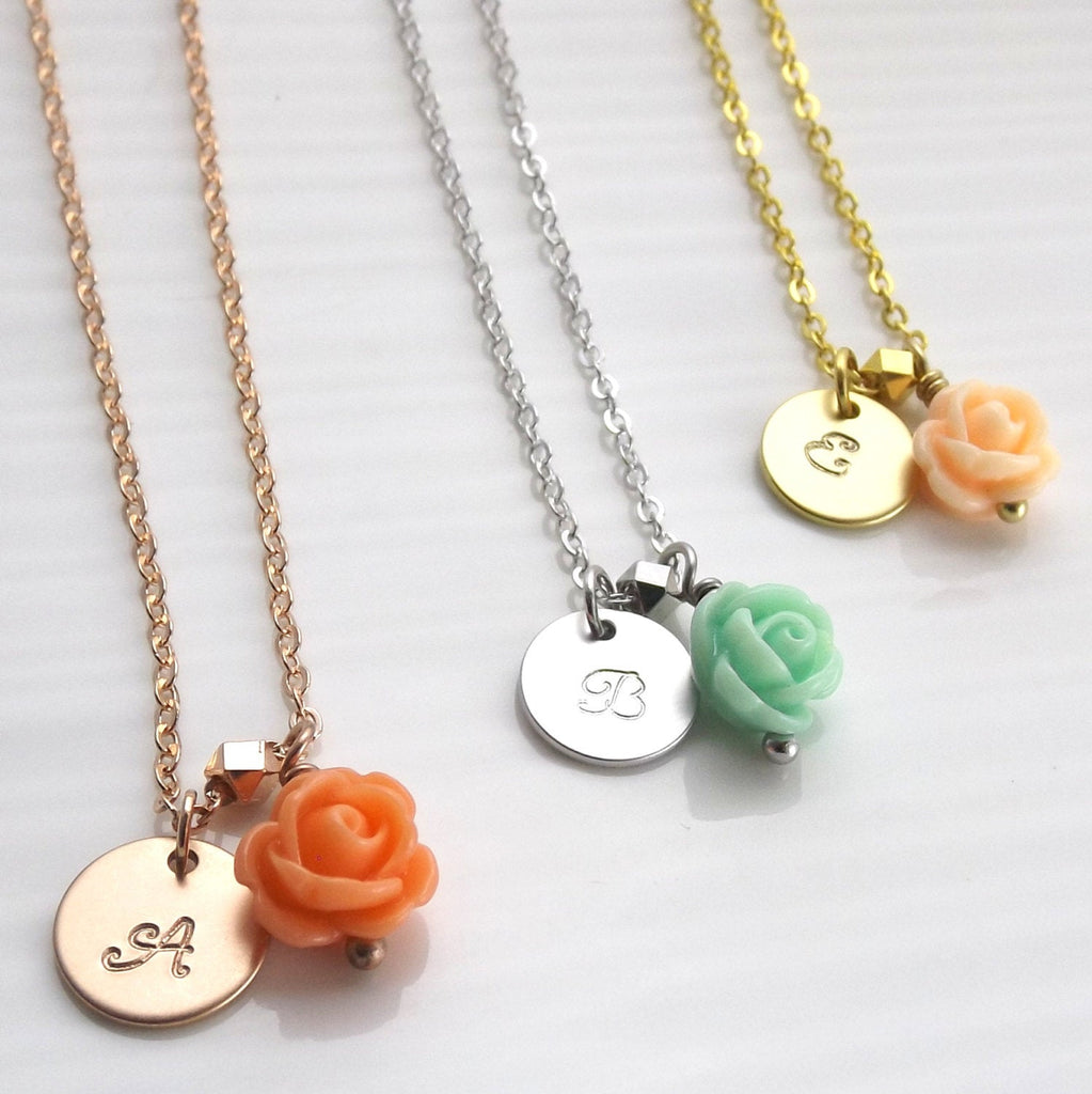 Flower girl gift- flower girl necklace- kids initial necklace - flower girl jewelry - kids jewelry - girls necklace- personalized kids gift