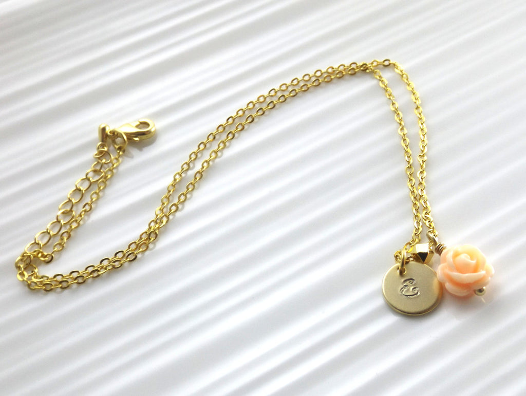 Children's gold initial and flower necklace, personalized children's jewelry, kids jewelry
