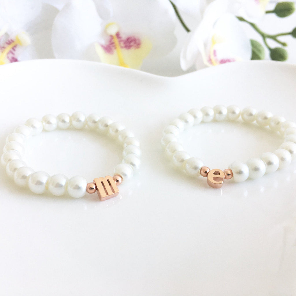 Flower Girl Gift, Children's Rose Gold Lowercase Initial Bracelet On Stretch Cord, Flower Girl Gift Idea, Personalized Flower Girl Bracelet