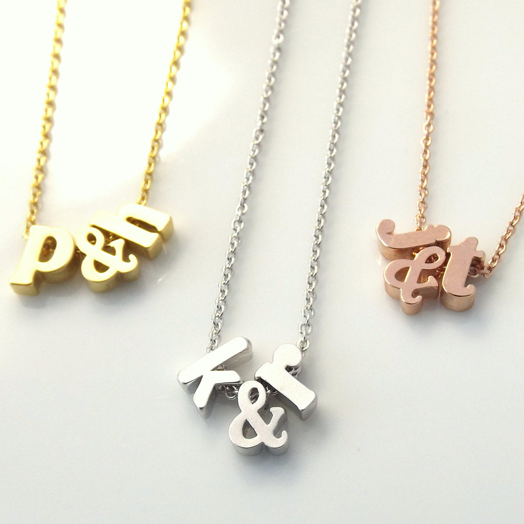 Double initial necklace with ampersand, star or heart, valentines gifts for her, bridal necklace, best friend gift , girlfriend gift, gifts