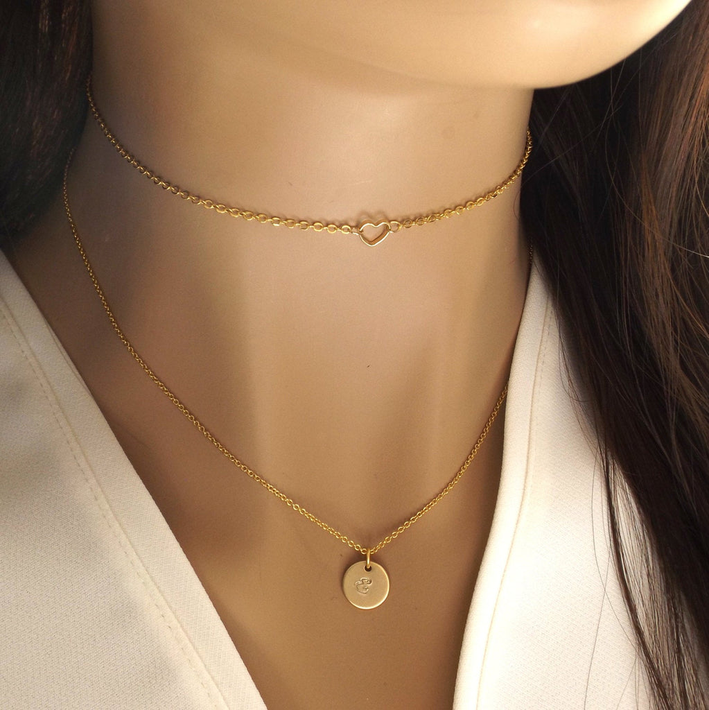 Delicate dainty heart choker in silver rose gold or gold plated- tiny open heart necklace, open heart choker- gifts for her , dainty choker