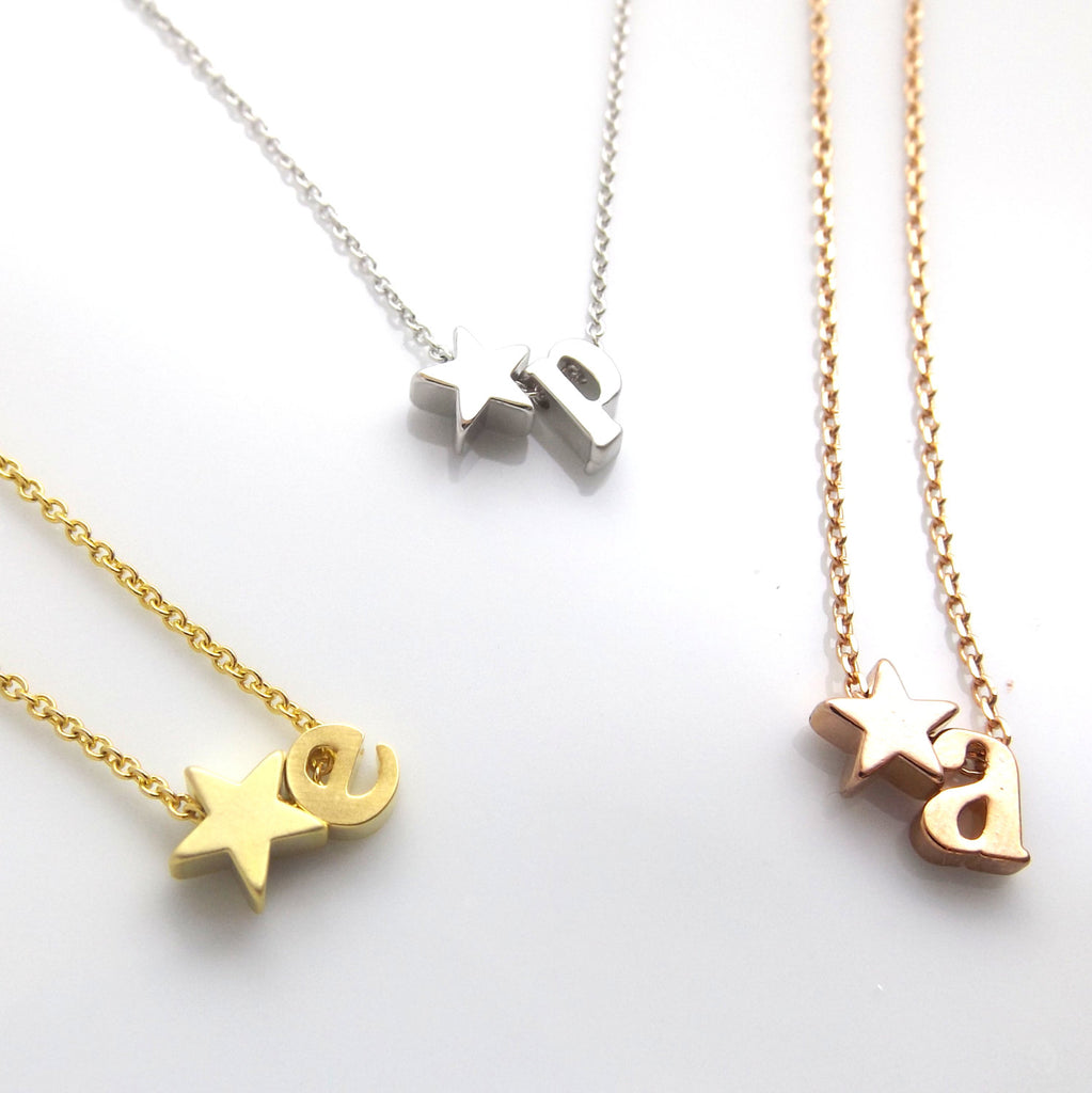 Star & Initial Necklace,Silver Rose Gold Gold,Star Jewellery,Star Jewelry,Teen Gift,Personalized Jewelry Gifts,Bridesmaid Gift Necklace