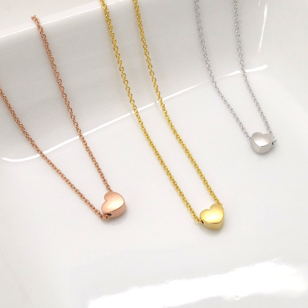 Tiny heart necklace , dainty heart necklace, rose gold heart necklace