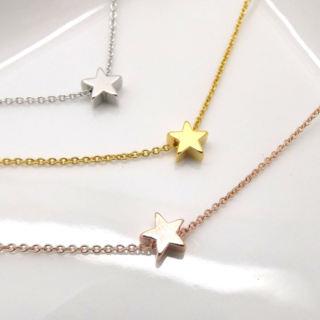 silver sterling pendant necklace girly charm falling gift tiny star under