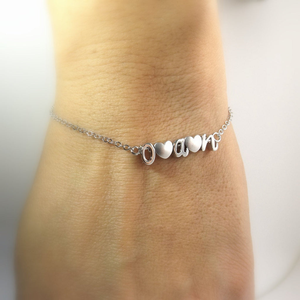 Build your own heart and initial bracelet- personalized mom- mothers bracelet- gifts for mom- kids initial bracelet- mothers day gifts