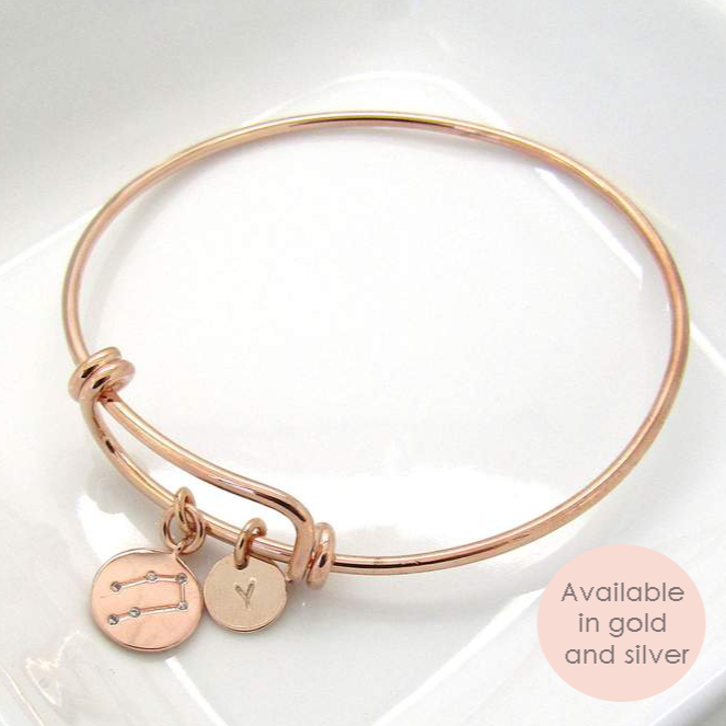Personalised Zodiac Constellation Star Sign Bangle Bracelet