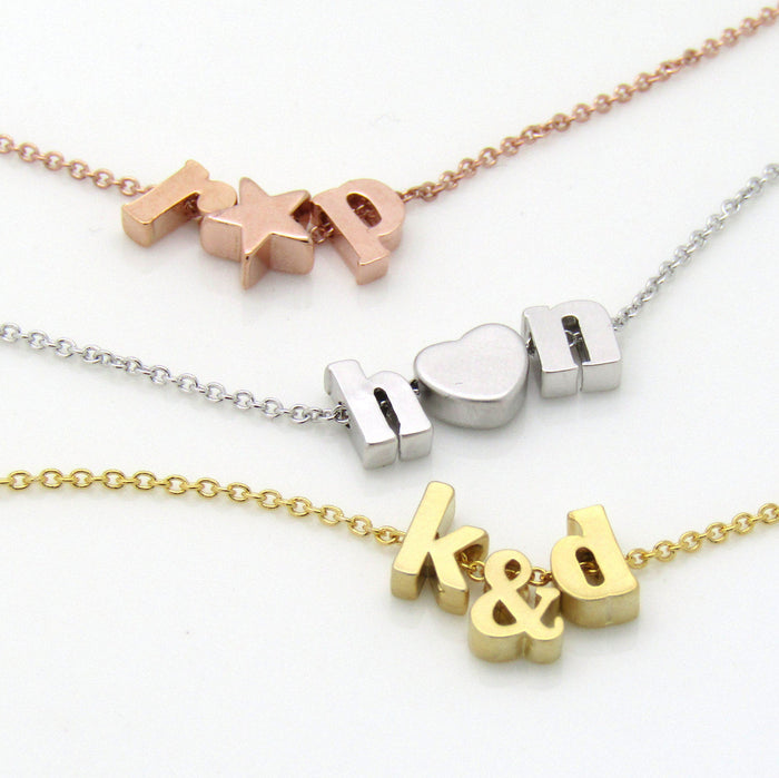 Double initial and ampersand necklace, initial necklace, ampersand necklace