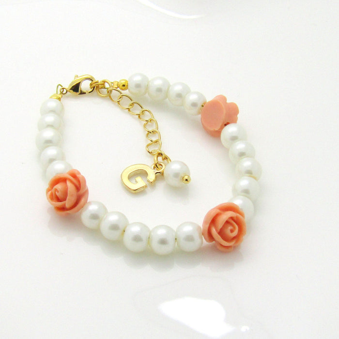 Personalized flower girl bracelet • gold flower girl bracelet • kids pearl jewelry • wedding jewelry kids • baby bracelet • toddler bracelet