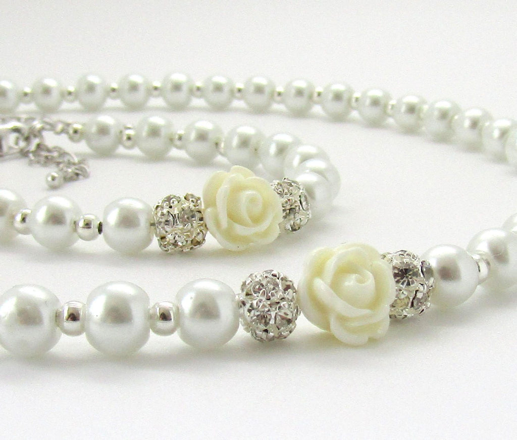 Flower Girl Gift Kids Pearl Necklace and Bracelet Set Pearl Flower Girl Jewelry Junior Bridesmaid Gift Will You Be My Flower Girl SET04
