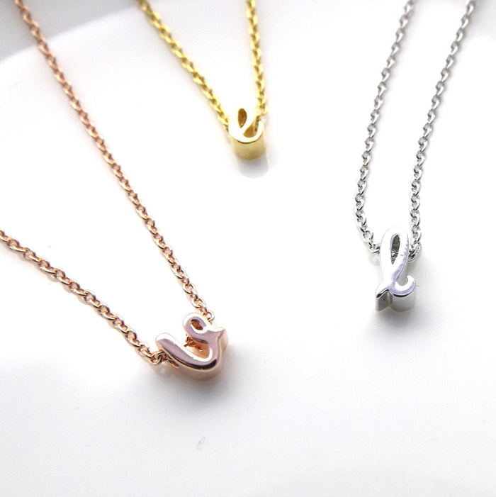 Silver rose gold or gold dainty minimalist initial necklace, lowercase cursive tiny initial necklace