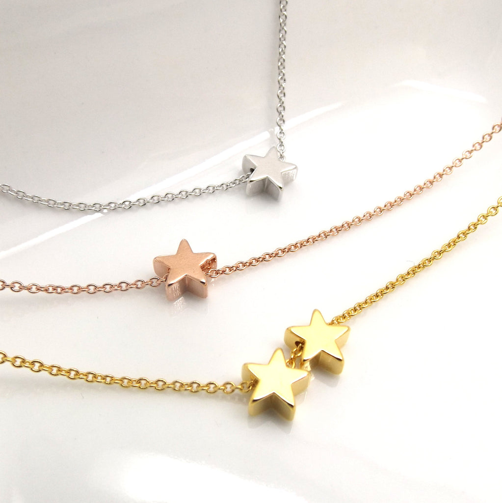 Tiny star necklace- silver rose gold or 16k gold- dainty layering necklace,bridesmaid gift,teen gift