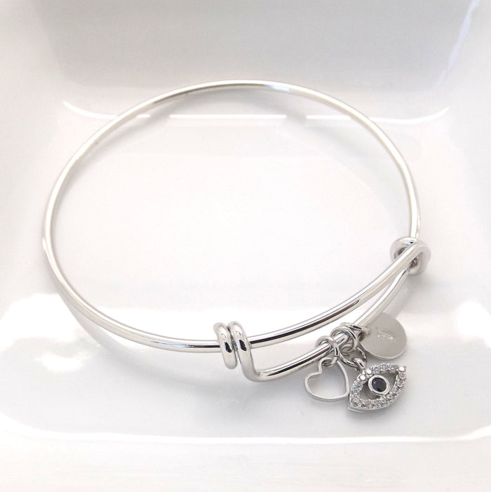 Silver evil eye bracelet •gifts for her • best friend gift • good luck gift • new job gift • lucky charm bracelet • evil eye charm bracelet