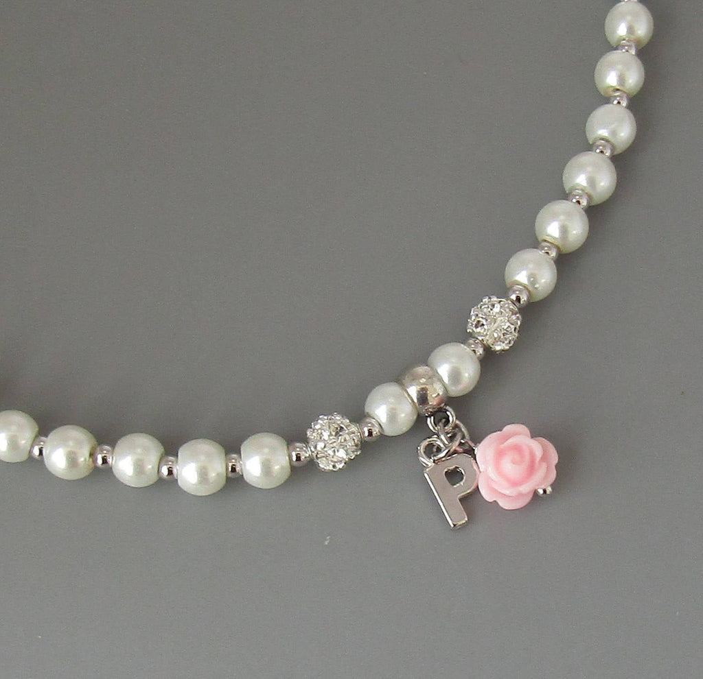 Flower Girl Necklace - Flower Girl Gift- Personalized Flower Girl Necklace- Flower Girl Jewelry- Children's Pearl Necklace- Kids Jewlery