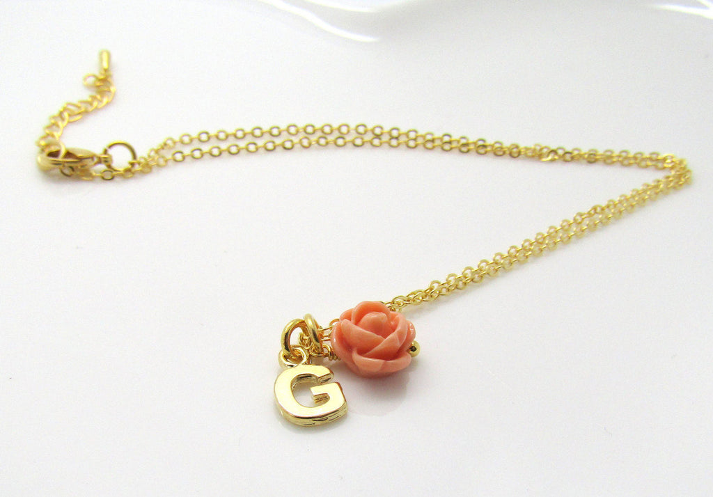 Children's gold initial necklace-personalized flower girl necklace-gold flower girl necklace-flower girl jewelry-flower girl gift-niece gift
