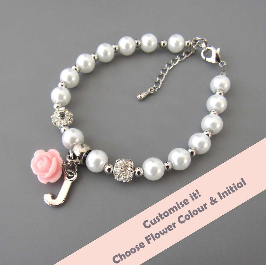 Flower Girl Gift, Childrens Personalized Bracelet Flower Girl Bracelet